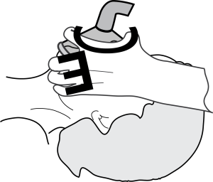 "Note the finger positions. Thumb and forefinger press mask against the face and form a ""C"" shape. Remaining fingers grip mandible and form an ""E""."